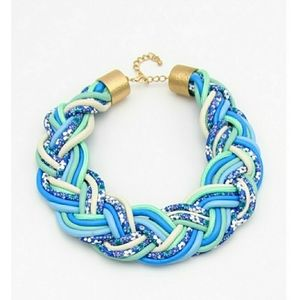 Blue Leather Floral Print Statement Necklace